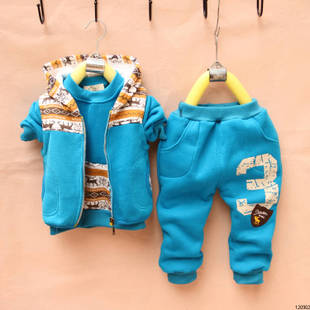 male and female children's clothing 2012 new Autumn baby sweater vest + jacket + trousers Parure